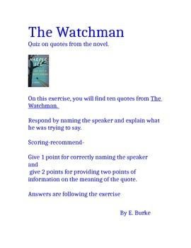 Quotes Quiz On The Novel, Go Set A  Watchman By Harper Lee