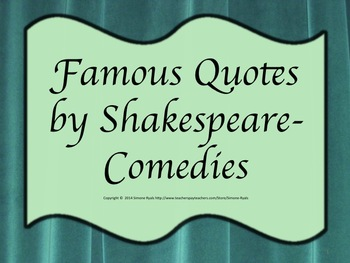 Quotes Shakespeare Comedies Drama Theater Language Arts Character