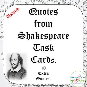 Quotes from Shakespeare's Plays - Task Cards.
