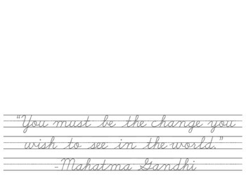 Quotes in Cursive - Gandhi