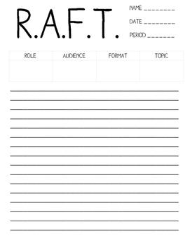 R.A.F.T. Graphic Organizer / Worksheet