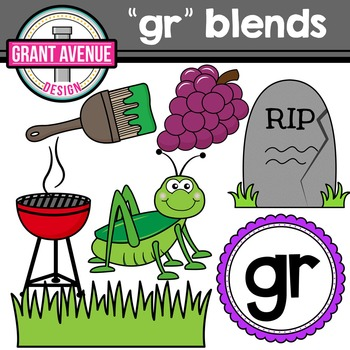 R Blends Clipart - GR Words Clipart