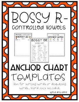 R-Controlled Vowel Digital Anchor Charts + Word Lists