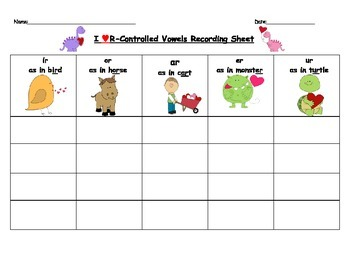 R-Controlled Vowel Recording Sheet