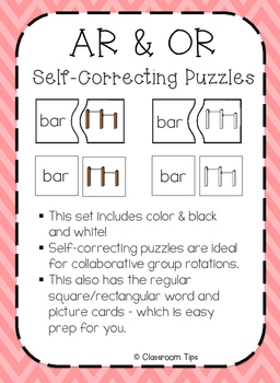 R-Controlled Vowels: AR & OR Self-Correcting Puzzles