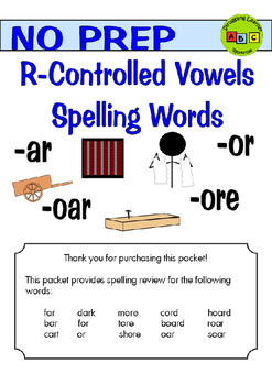R-Controlled Vowels - Spelling Packets - 2nd Grade