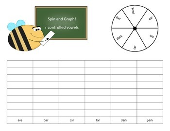 R Controlled Vowels Spin and Graph Word Work - 13 pages of