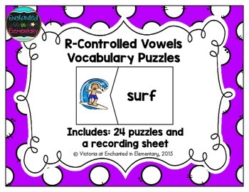 R-Controlled Vowels Vocabulary Puzzles