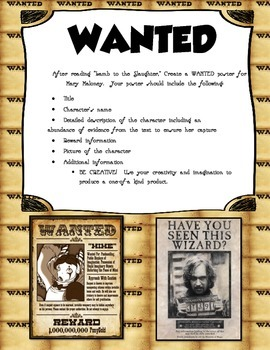"""R. Dahl's """"Lamb to the Slaughter"""" Wanted Poster Activity"""