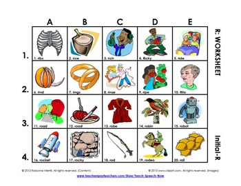 R Vocabulary Picture Grids: Initial, BR-Blends, and All Po