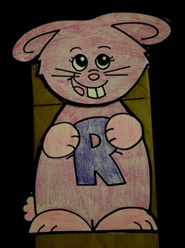 R is for Rabbit paper bag puppet