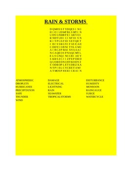 RAIN & STORMS WORD SEARCH