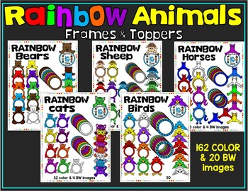 RAINBOW ANIMALS- TOPPERS AND FRAMES BUNDLE PACK