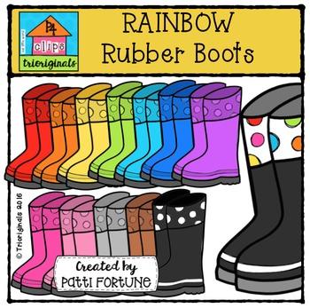 RAINBOW Rubber Boots {P4 Clips Trioriginals Digital Clip Art}