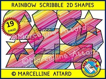 2D SHAPES CLIP ART: SCRIBBLE CLIPART SHAPES: MATH CLIPART: