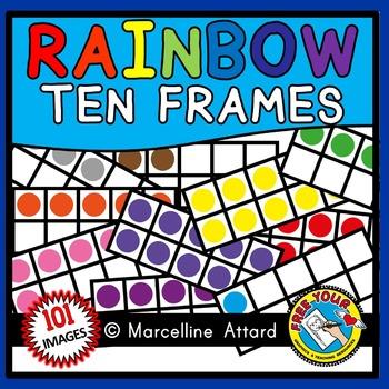 RAINBOW TEN FRAMES CLIPART (NUMBERS 0 TO 10 MATH CLIP ART)