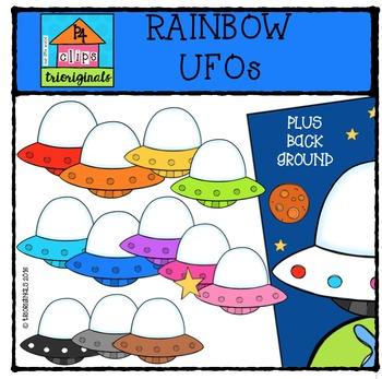 RAINBOW UFOs {P4 Clips Trioriginals Digital Clip Art}