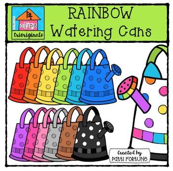 RAINBOW Watering Cans {P4 Clips Trioriginals Digital Clip Art}
