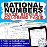 RATIONAL NUMBERS Maze, Riddle & Coloring Page (Fun Activities)