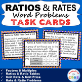 RATIOS AND RATES Word Problems - Task Cards {40 Cards}