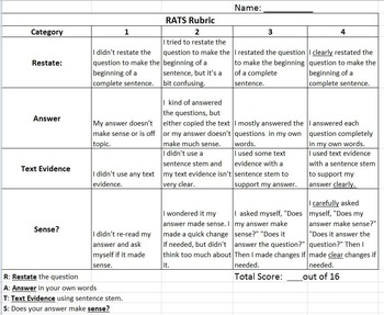 RATS Rubric: Encourage Text Evidence in Student Writing