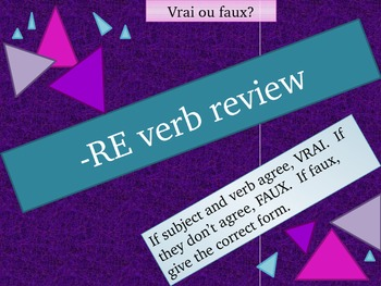 RE French verb review game