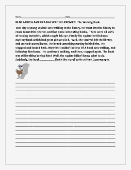 READ ACROSS AMERICA DAY WRITING PROMPT: THE WALKING BOOK