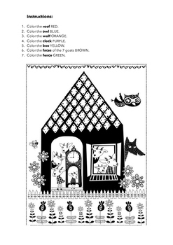 READ AND COLOR - THE WOLF AND THE SEVEN KIDS