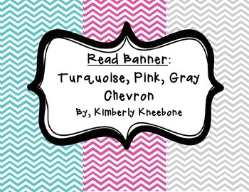 READ Banner Pennant - Turquoise, Pink, and Gray Chevron