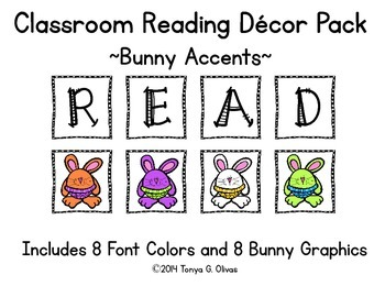 READ Classroom Decor with Bunny Accent Pics