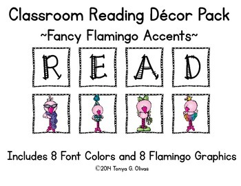 READ Classroom Decor with Fancy Flamingo Accent Pics