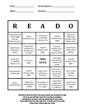 READ-O Card (Reading Log) Prek-2