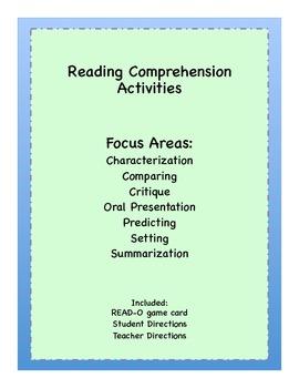 READ-O Reading Comprehension BINGO for Homework or Extra C