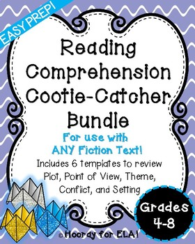 READING COMPREHENSION COOTIE CATCHER  BUNDLE FOR GRADES 4-8!