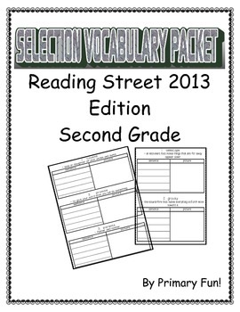 READING STREET (2013 EDITION) - UNIT 1 - SELECTION WORD PA