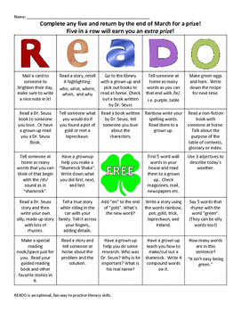 READO: March Literacy and Reading bingo style game for at