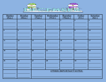 READY TO GO-December 2016 calendar: (comes with due date lines)