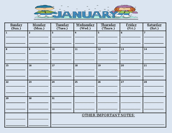 READY TO GO-January 2017 calendar (MUST print out/write as