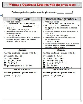 Graphic Organizer - Find Quad Equation given Roots (Intege