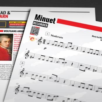 RECORDER SHEET MUSIC: Minuet - Leopold Mozart w/ FINGERING CHART