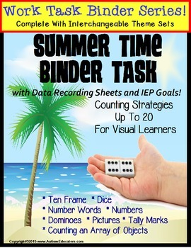 REFILL ONLY: Autism Work Task Binder with Data SUMMER THEM