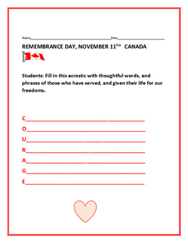 REMEMBRANCE DAY CANADA/ ACROSTIC