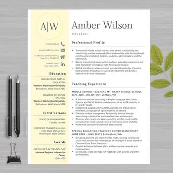 RESUME TEACHER Template For MS Word   + Educator Resume Wr