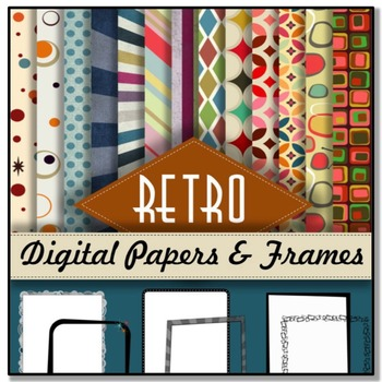 RETRO THEME: Digital Papers &  Borders