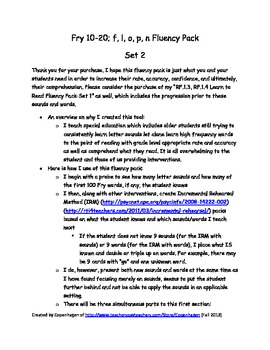 RF.1.3, RF.1.4 RtI: Learn to Read Fluency Pack-Set 2