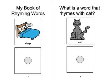 RHYMING Adapted Velcro BOOK, Speech Therapy, Autism, Phono
