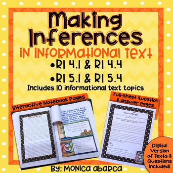 RI 4.1/ RI 4.4 & RI 5.1/ RI 5.4 Inferencing in Informational Text