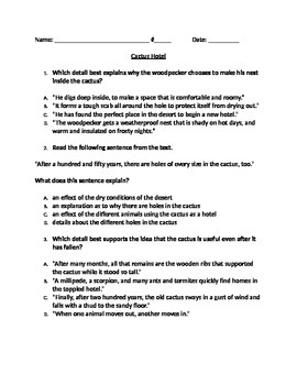 """RI 4.3 Cause & Effect: """"Cactus Hotel"""" CCLS Questions and P"""