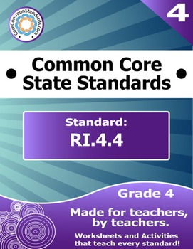 RI.4.4 Fourth Grade Common Core Bundle - Worksheet, Activi