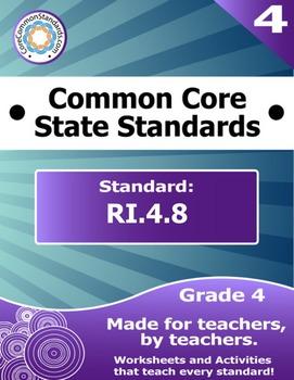 RI.4.8 Fourth Grade Common Core Bundle - Worksheet, Activi